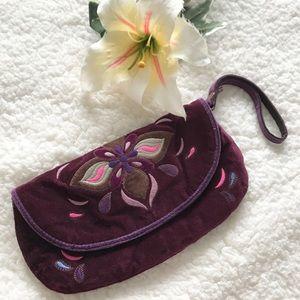 Lucky Brand Velvet Wristlet Clutch Bag Purse Y2K F
